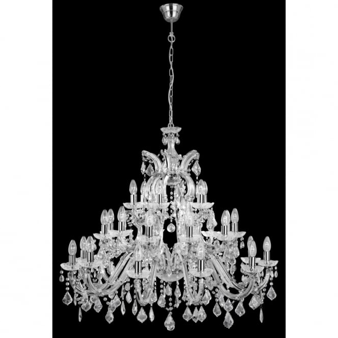 Fashionable Crystal And Chrome Chandeliers Inside Very Large Marie Therese Crystal Chandelier With 30 Lights On 3 Tiers (View 5 of 10)