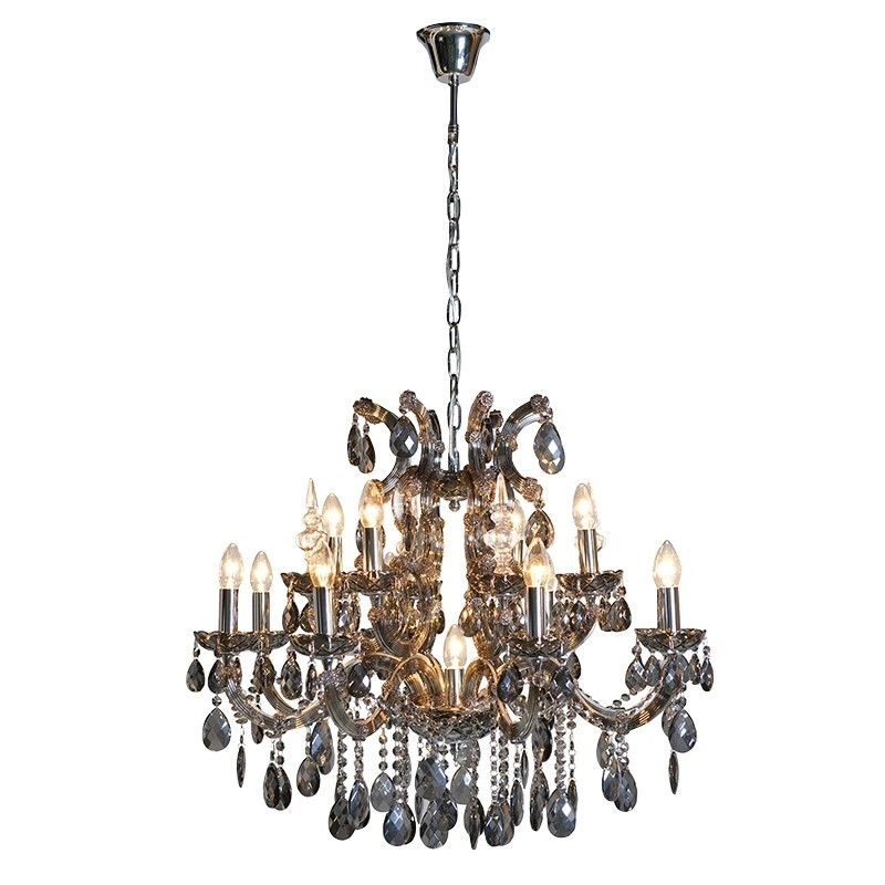 Fashionable French Style Chandelier In Large Smoked Glass Chandelier (View 6 of 10)
