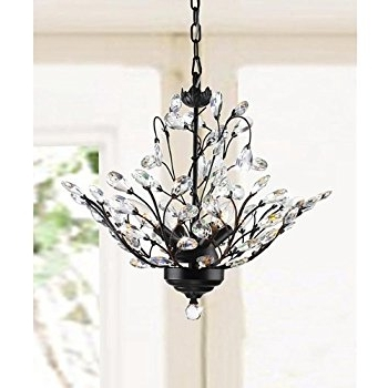 Fashionable Holly 4 Light Antique Copper Crystal Leaves Chandelier – – Amazon For Crystal Branch Chandelier (View 5 of 10)