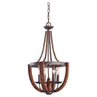 Fashionable No Bulbs Included – Copper – Chandeliers – Lighting – The Home Depot Within Copper Chandeliers (View 2 of 10)