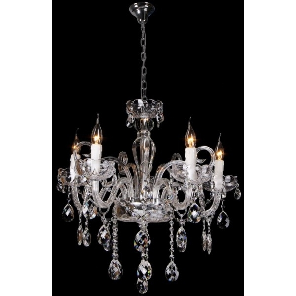 Fashionable Premium Prague Chrome Chandelier With Lead Crystals Pertaining To Lead Crystal Chandelier (View 5 of 10)