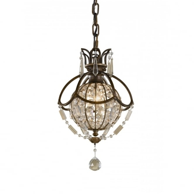 Fashionable Small Bronze Chandelier With Small Globe Chandelier, Oxidised Bronze With Antique Crystal, Long Drop (View 3 of 10)