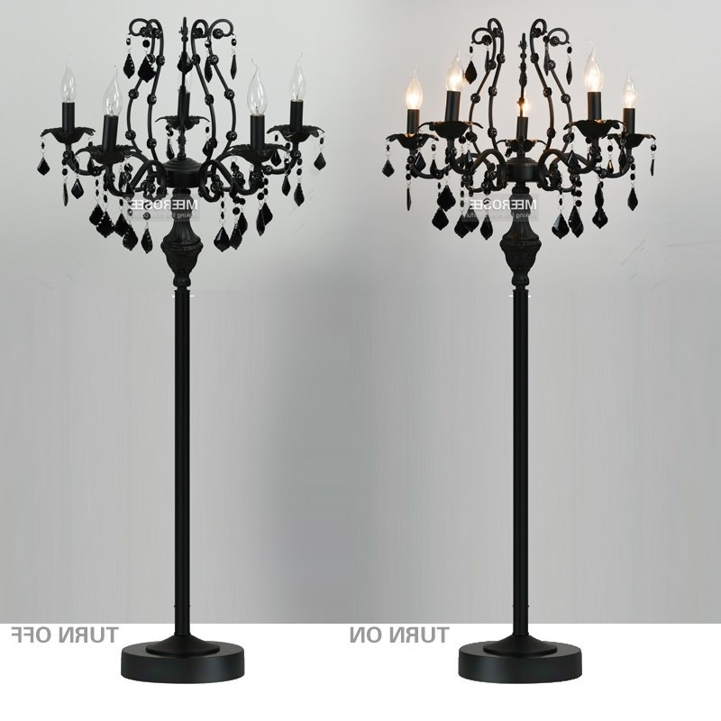 Fashionable Standing Chandelier Floor Lamps Intended For Wholesale Bulb Type Vintage 5 Lights Crystal Floor Lamp, Floor Stand (View 2 of 10)