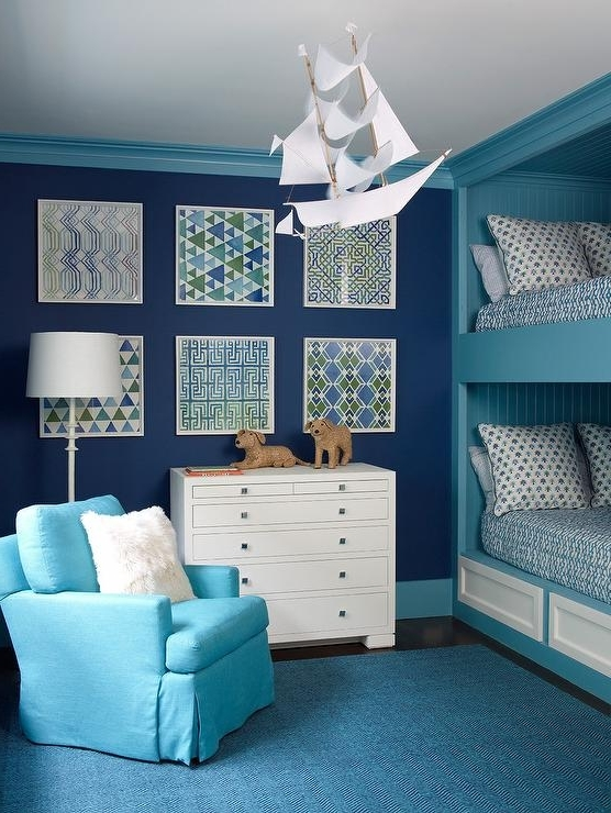 Fashionable Turquoise Bedroom Chandeliers In Blue Boys Bedroom With Turquoise Shiplap Bunk Bed – Contemporary (View 5 of 10)