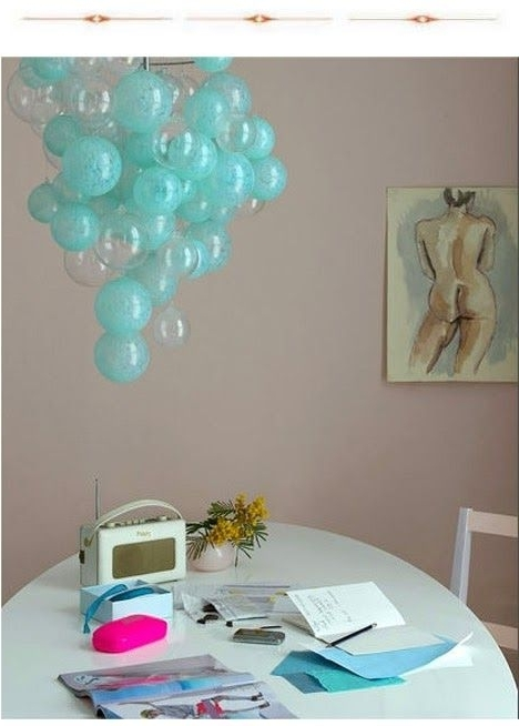 Fashionable Turquoise Bubble Chandeliers Throughout Use This Idea For Bulb Covers To Add More Color In The Kitchen (View 3 of 10)