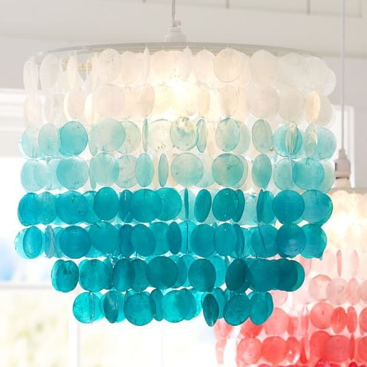 Fashionable Turquoise Ombre Capiz Chandelier (View 2 of 10)