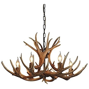Favorite Antler Chandelier Pertaining To Antlers Vintage Style Resin 6 Light Chandeliers 8688 6, Diameter (View 4 of 10)