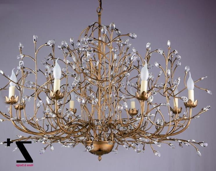 Favorite Crystal Branch Chandelier Pertaining To Tree Branch Chandelier 6 Arm Aged Brass Finish Country Style Tree (View 6 of 10)