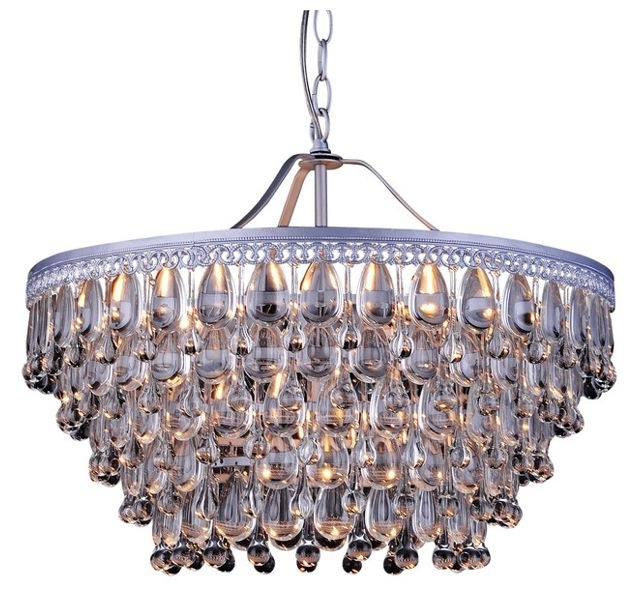 Favorite Kassandra 6 Light Sparkle Crystal Matte Silver Chandelier For Silver Chandeliers (View 5 of 10)