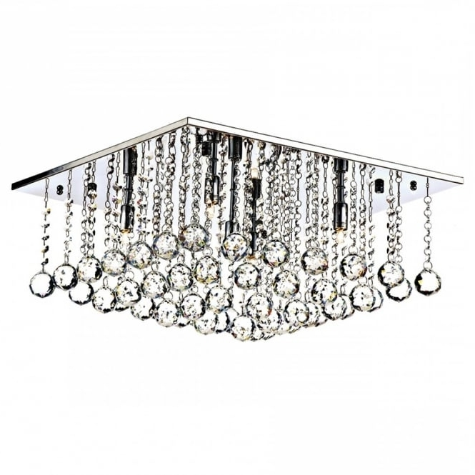 Favorite Modern Chandeliers For Low Ceilings Within Square Chrome And Crystal Flush 5 Light Chandelier For Modern Settings (View 4 of 10)