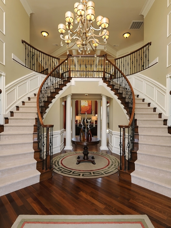 Favorite Stairway Chandeliers Within Corbett Roma Chandelier Above A Dual Staircase Hardwood Floored (View 2 of 10)