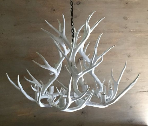 Favorite White Antler Chandelier Within Antler Chandelier, Painted Solid White And Hand Crafted Using (View 5 of 10)