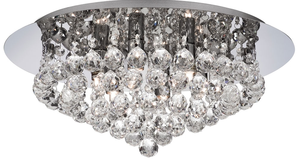 Flush Chandelier Ceiling Lights Inside Most Recently Released Hanna Chrome Finish 6 Light Flush Crystal Ceiling Light 3406 6Cc (View 4 of 10)