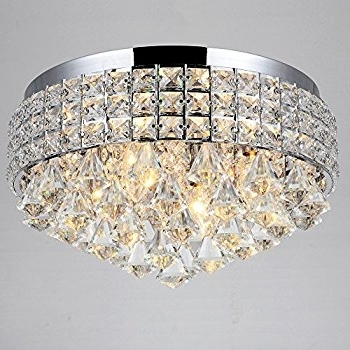 Flush Chandelier With Well Known Antonia Ornate Crystal Flush Mount Chandelier In Chrome – – Amazon (View 5 of 10)