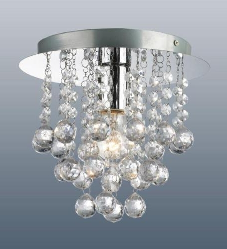 Flush Fitting Chandelier Intended For Well Liked Modern Round Chrome Ceiling Light Flush Fitting Crystal Droplet (View 5 of 10)