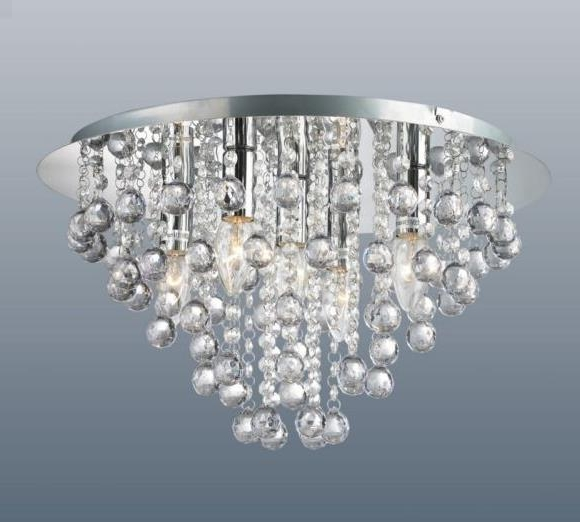 Flush Fitting Chandeliers Within Trendy Round 5 Light Chrome Ceiling Lights Flush Fitting Crystal Droplet (View 2 of 10)