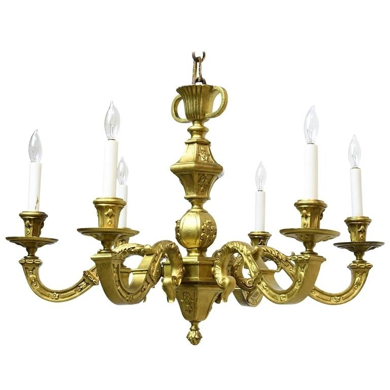 French Belle Époque Gilt Bronze Chandelier With Six Lights, Circa In Famous French Bronze Chandelier (View 5 of 10)