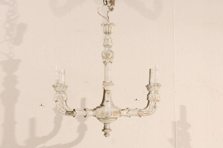 French Chandelier Pertaining To Well Liked French Vintage Six Light Wood Chandelier In Neutral Cream Beige (View 9 of 10)