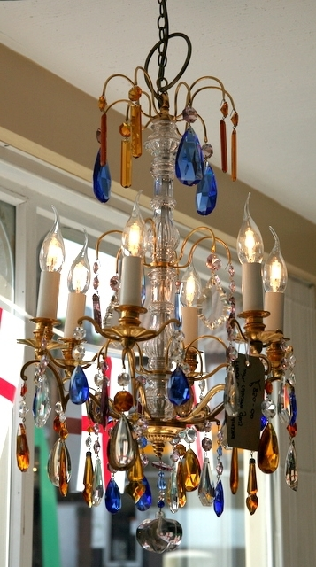French Coloured Glass Chandelier – Th161 With Favorite Coloured Glass Chandelier (View 8 of 10)