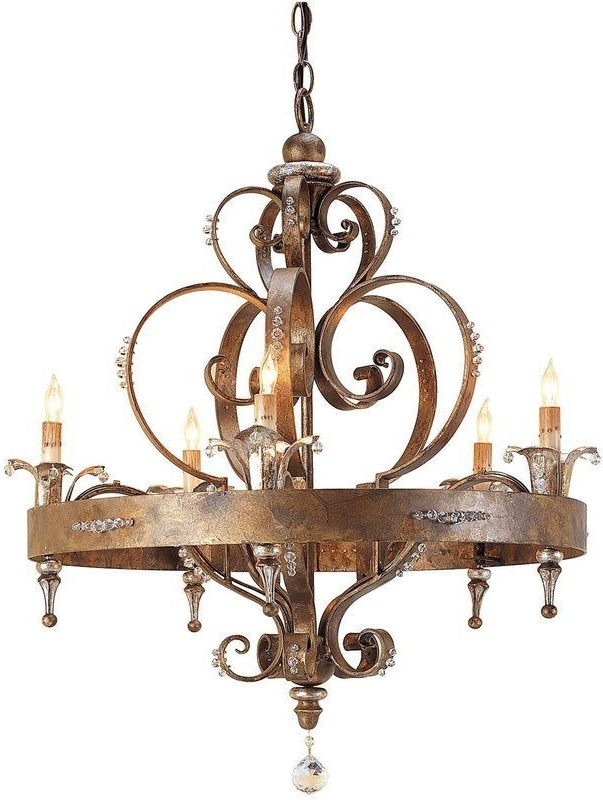 French Country Wrought Iron Chandelier With Swarovski Crystals Within Most Current French Country Chandeliers (View 7 of 10)