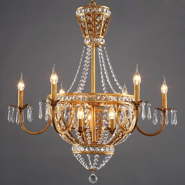 French Style Chandelier Regarding 2018 American Vintage Rustic French Style Crystal Chandelier Light Home (View 2 of 10)