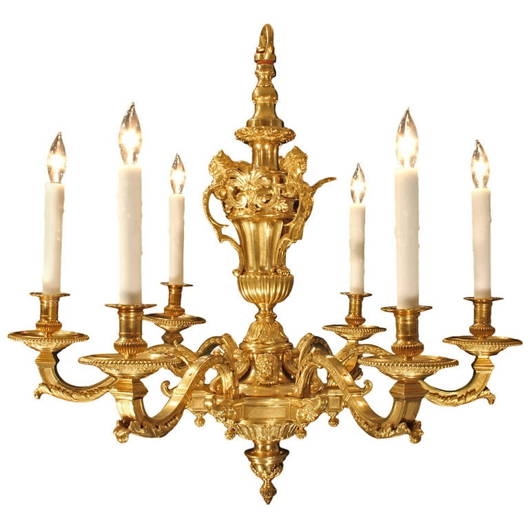 French Style Chandelier With Most Recent French Mid 19Th Century, Louis Xiv Style Eight Arm Ormolu Chandelier (View 8 of 10)