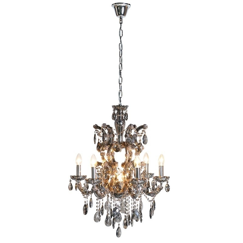 French Style Glass Chandelier Intended For Most Up To Date Smoked Glass Chandelier (View 3 of 10)