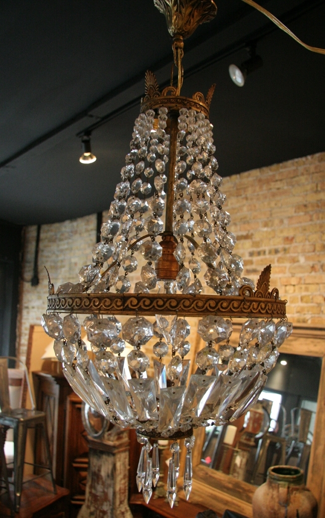 French Vintage Empire Style Crystal Chandelier – Regarding Well Liked Vintage Style Chandelier (View 2 of 10)
