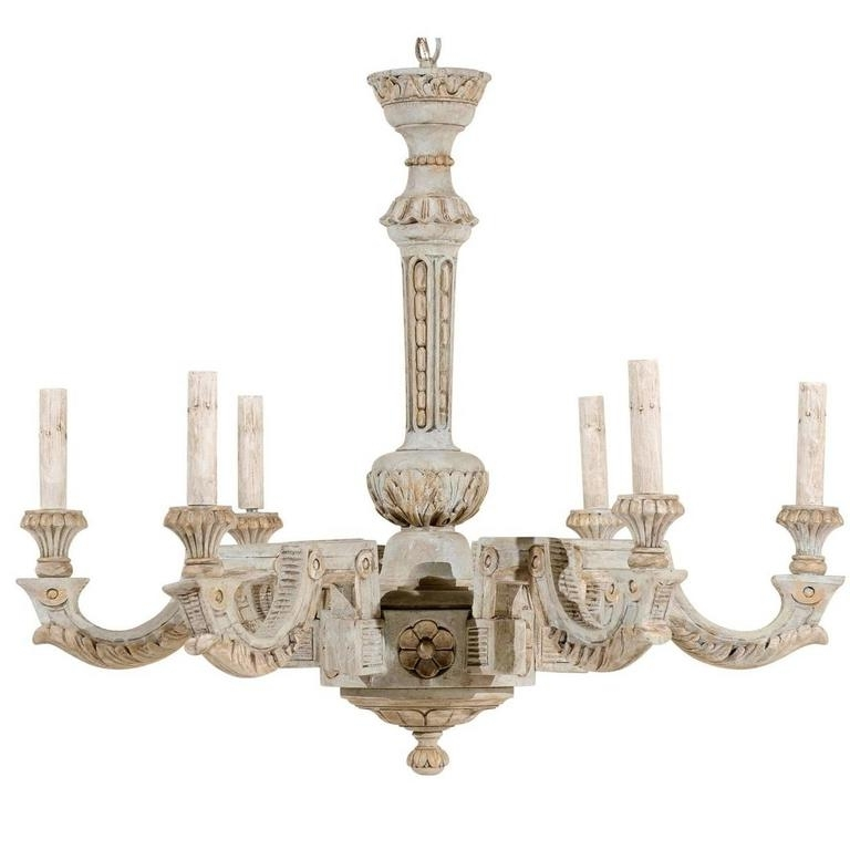 French Wooden Chandelier With Recent French Vintage Painted And Carved Wood Chandelier With Six Lights (View 3 of 10)