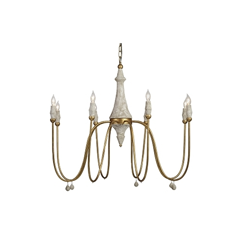 Gabby Chandelier For Trendy Gabby Home Clay Vintage Gold And Distressed Ivory Eight Light (View 2 of 10)