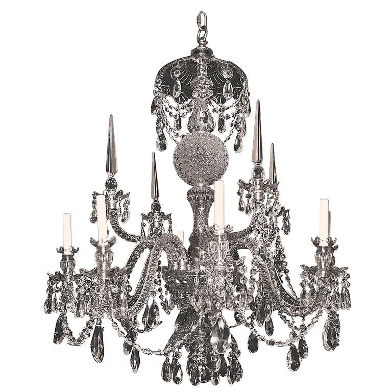 Georgian Style Cut Crystal Eight Light Chandelier (View 5 of 10)