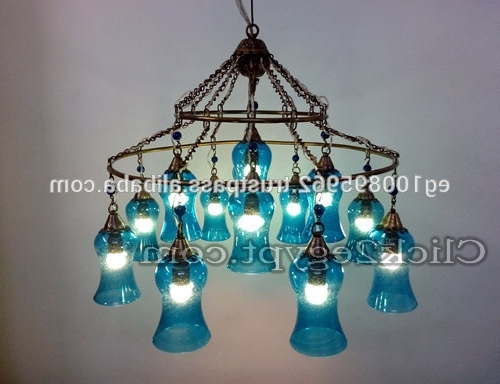 Glamorous 4 Light Full Lead Turquoise Blue Crystal Chandelier Intended For Newest Turquoise Blown Glass Chandeliers (View 3 of 10)
