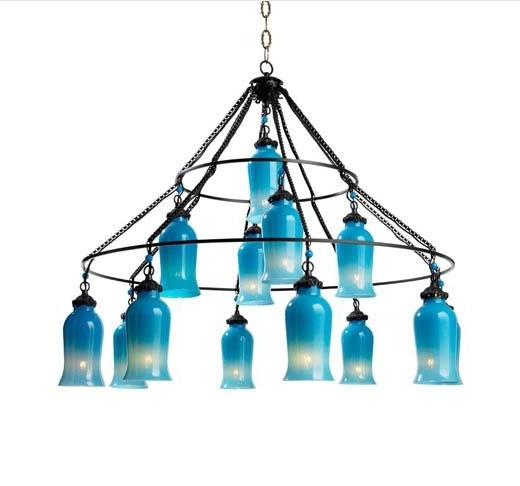 Glass Chandelier I Tonic Home Pertaining To Popular Turquoise Blue Glass Chandeliers (View 1 of 10)