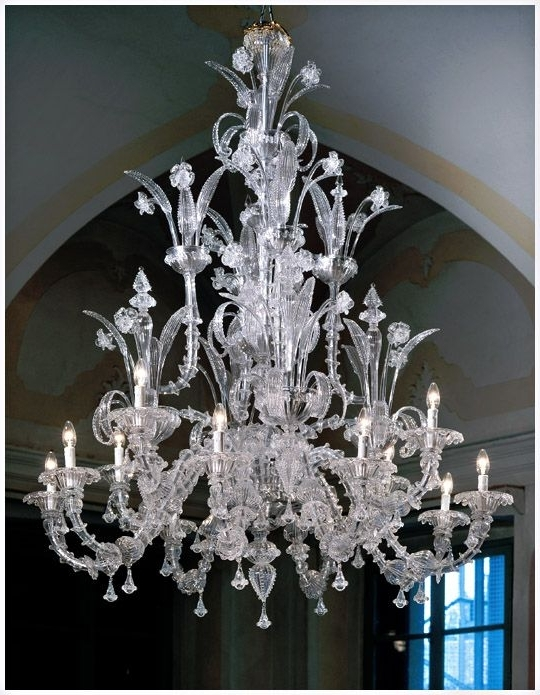 Glass Chandeliers Inside Trendy Murano Ca Rezzonico 7061K8+4 Style Chandeliers In Clear Glass With (View 7 of 10)