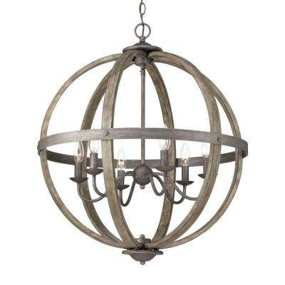 Globe – Chandeliers – Lighting – The Home Depot With Best And Newest Orb Chandelier (Gallery 2 of 10)