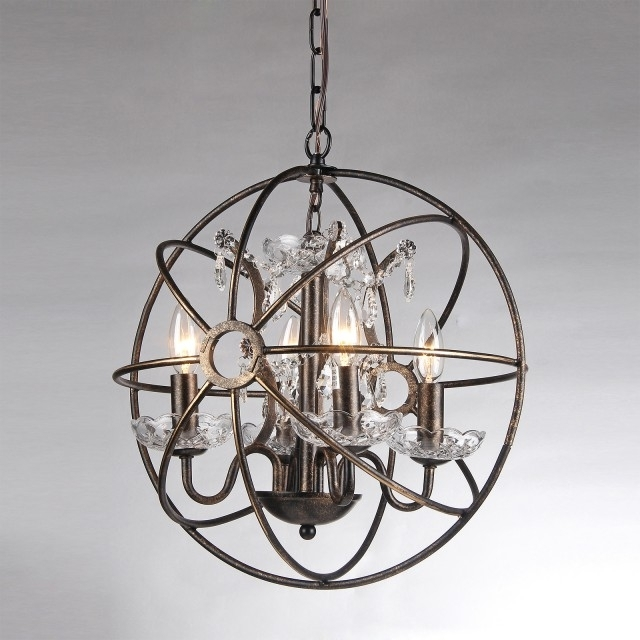 Globe Crystal Chandelier With Most Recent 4 Light Antique Bronze Sphere Cage Crystal Chandelier Globe Fixture (Gallery 9 of 10)