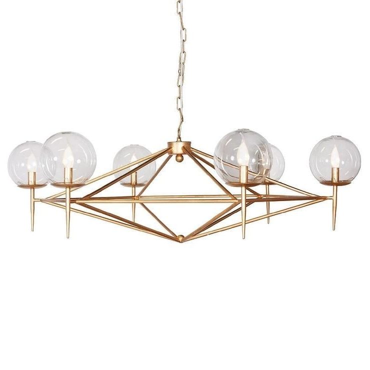 Gold Modern Chandelier With Regard To Fashionable Lighting – An Angular Gold Metal Frame And Six Globe Spheres (View 5 of 10)