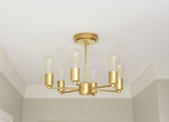 Gold Modern Chandelier With Regard To Most Popular Modern Chandelier Gold 6 Arm Pinwheel Bulb Brass Sputnik Mid Century (Gallery 6 of 10)