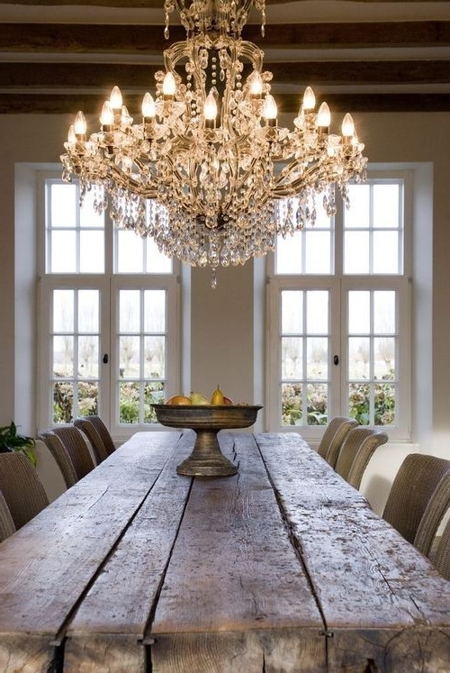 Gorgeous Chandelier + Rustic Wooden Table (View 6 of 10)