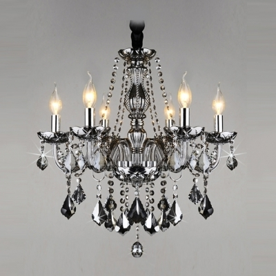 Grey Crystal Chandelier With Regard To Well Liked Gracefully Smoky Gray Crystal Strands And Droplets 6 Light (Gallery 4 of 10)