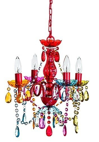 Gypsy Color 4 Arm Multi Color Small Acrylic Crystal Chandelier New With Regard To Most Popular Multi Colored Gypsy Chandeliers (View 2 of 10)