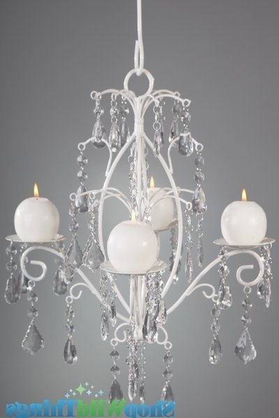 Hanging Candle Chandeliers With Regard To Well Known Crystal & White Wedding Decor (Gallery 4 of 10)