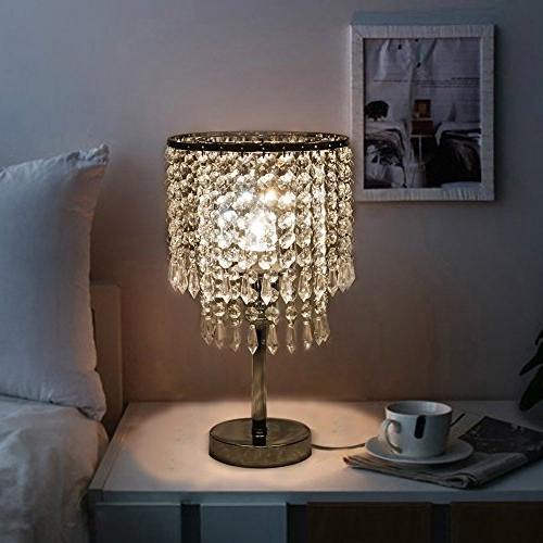 Hile Lighting Ku300085 Chrome Round Crystal Chandelier Bedroom Within Fashionable Chandelier Night Stand Lamps (View 7 of 10)