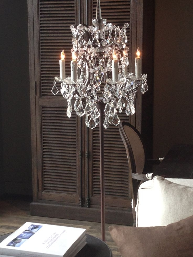 Home Design : Marvelous Floor Standing Chandelier Lamp Black Home With Regard To Preferred Free Standing Chandelier Lamps (View 4 of 10)