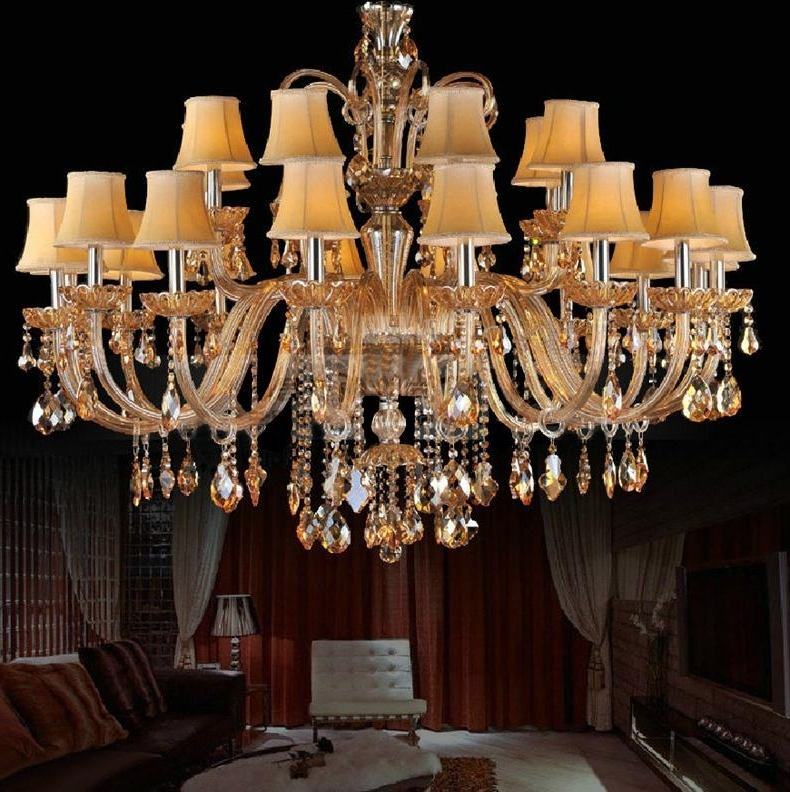 Huge Chandelier For Living Room Fabric Shade Crystal Chandelier Pertaining To Well Liked Huge Chandeliers (View 4 of 10)