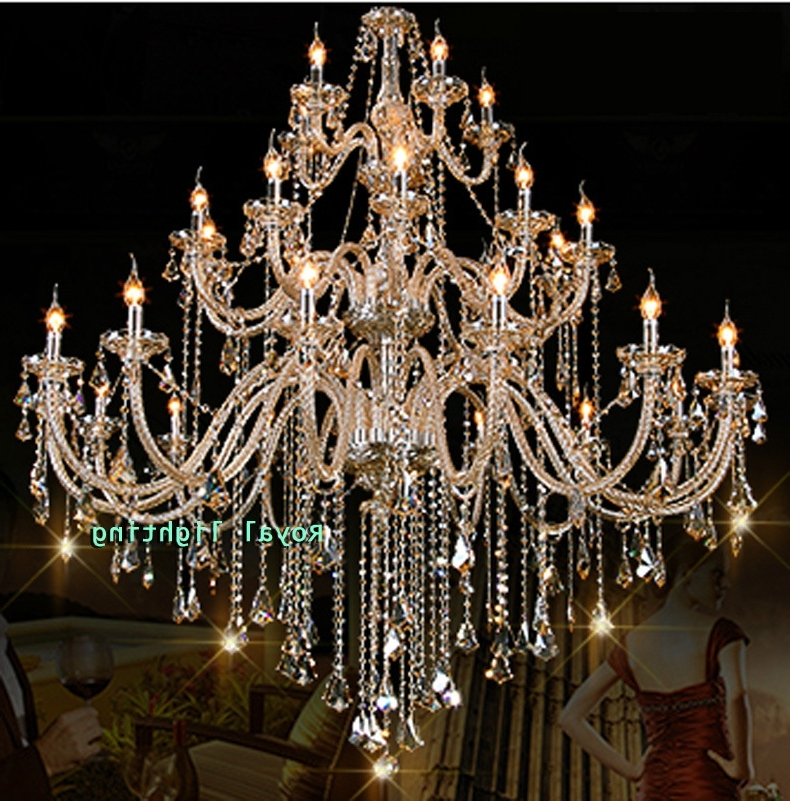 Huge Crystal Chandeliers Intended For Most Current 30 Arms Luxury Chandelier Villa Hotel Large Crystal Chandelier D150 (Gallery 3 of 10)