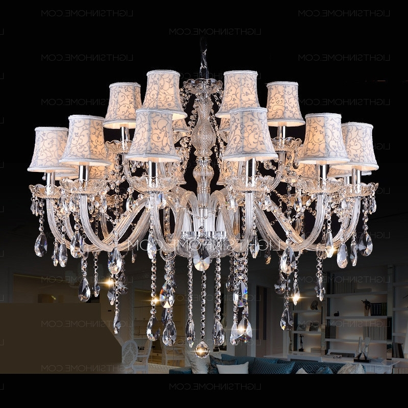 Huge Crystal Chandeliers Within Most Up To Date Huge 18 Light Fabric Shade Twig Modern Crystal Chandeliers (View 5 of 10)