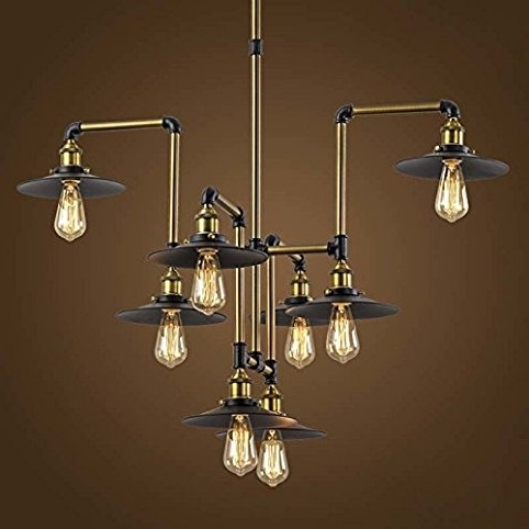 "Industrial Splendid 8 Lights 40"" Large Bronze Chandelier – Litfad With Famous Large Bronze Chandelier (View 1 of 10)"