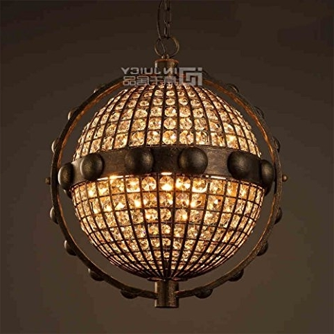 Injuicy Lighting Loft Retro Industrial Globe K9 Crystal Metal Ball For Famous Metal Ball Chandeliers (View 3 of 10)