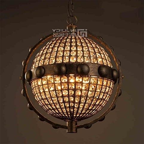 Injuicy Lighting Loft Retro Industrial Globe K9 Crystal Metal Ball For Famous Metal Ball Chandeliers (Gallery 9 of 10)